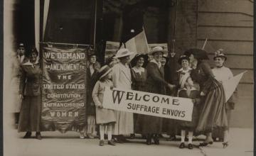 Women in 1920 gathering to support womens suffrage